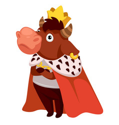 bull wearing royal mantle and gold crown king vector image