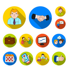 business conference and negotiations flat icons in vector image