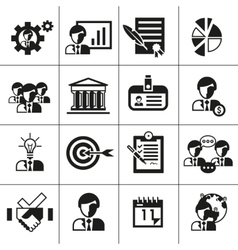 Business management icons black vector image