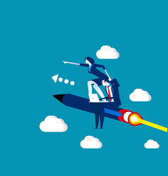 Business team flying on pen concept business vector