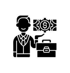 Businessman black glyph icon vector