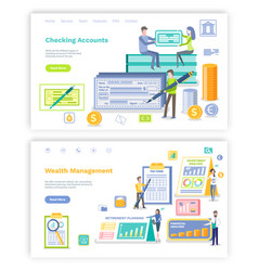Checking account and investment planning web set vector