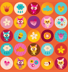 Circles pattern cute kittens hearts flowers clouds vector