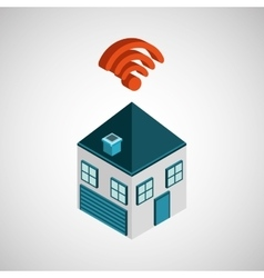 connection wifi house icon vector image