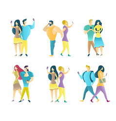 couples using mobile phones flat isolated vector image