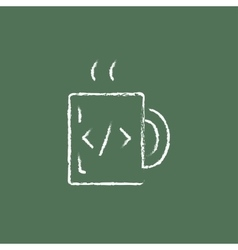 Cup of coffee with a code sign icon drawn in chalk vector