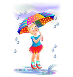 Cute little girl hiding from rain under umbrella vector