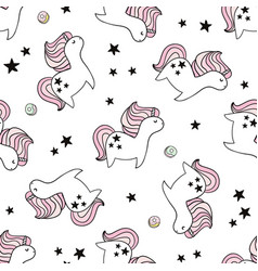 Cute seamless pattern with fairy unicorns vector