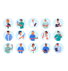 doctor and nurse avatar icon set isolated on white vector image