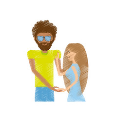 Drawing hipster man with woman relationship vector