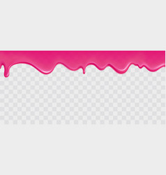 Dripping glossy pink slime border vector