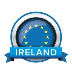 EU flag button with Ireland ribbon vector
