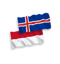 Flags indonesia and iceland on a white vector