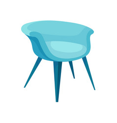 Flat icon of modern bright blue armchair vector