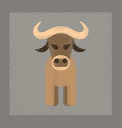 Flat shading style icon cartoon bull vector