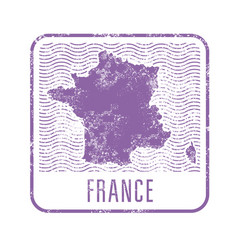 france travel stamp with silhouette of map of vector image