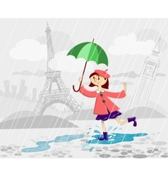 French girl with umbrella vector