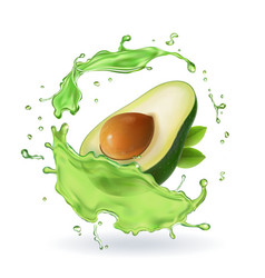 Fresh avocado fruit juice splash realistic vector