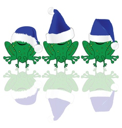 frog with blue christmas hat vector image