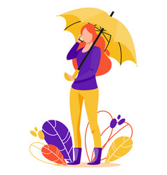 girl with mobile phone stands under an umbrella vector image