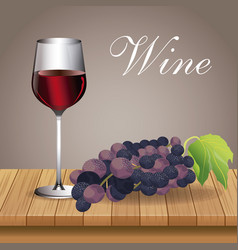 glass cup wine grape beverage image vector image