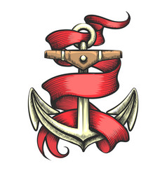 golden anchor with red ribbon tattoo vector image