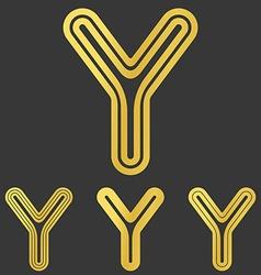 Golden y letter logo design set vector