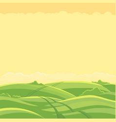 green field landscape field track road copy vector image