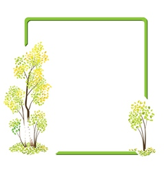 green frame with the autumn birches vector image