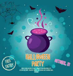 halloween backgrounds with bright cauldron and vector image