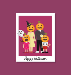 halloween family image on polaroid photo frame vector image