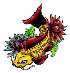 hand drawn outline koi fish gold japanese carp vector image