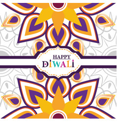 happy diwali festival hand lettering indian vector image