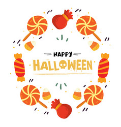Happy halloween candy dessert bag frame ima vector