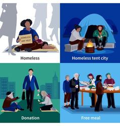 Homeless People 2x2 Design Concept vector image