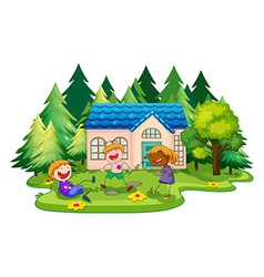 House and children vector image