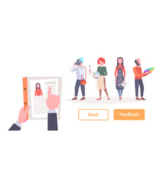 hr manager hand hold cv resume over group of vector image