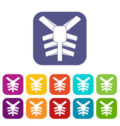 Human thorax icons set flat vector