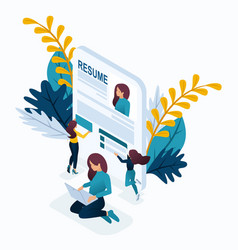 isometric girl makes a resume for job vector image