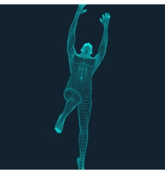 Jump Man Polygonal Design 3D Model of Man vector