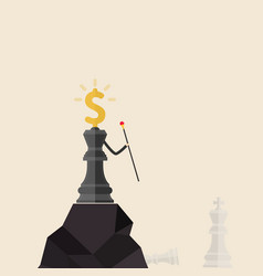 King of chess and dollars icon stand on the top vector