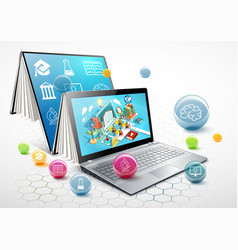 laptop as a book the concept of learning vector image