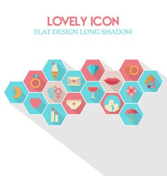 Lovely Icon Flat Design Long Shadow vector image
