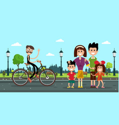 man in bicycle with family on road in city park vector image