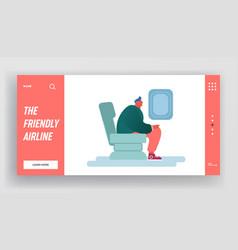 man sitting in air plane travel flight website vector image