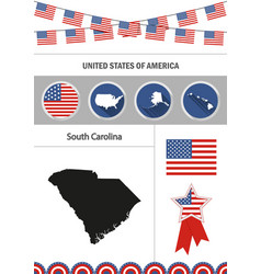 Map of south carolina set of flat design icons vector