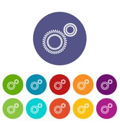 Mildew virus icons set color vector