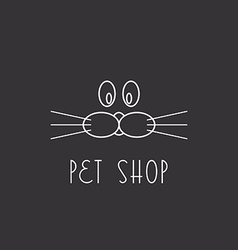 Muzzle dog or cat logo pet shop vector
