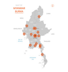 Myanmar burma map with administrative divisions vector