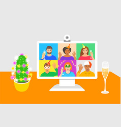new year online party video call to friends vector image